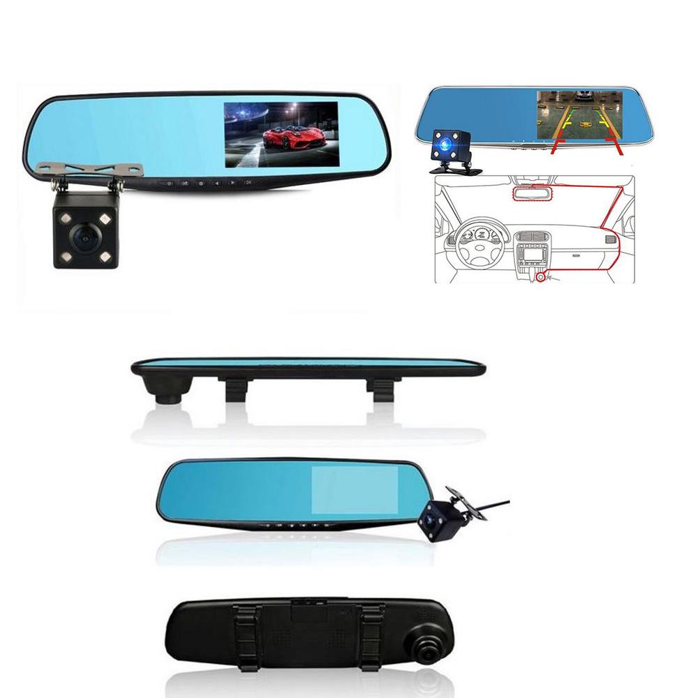 Dagaanbieding - iBello Dashcam en Achteruitrijcamera in spiegel dagelijkse koopjes