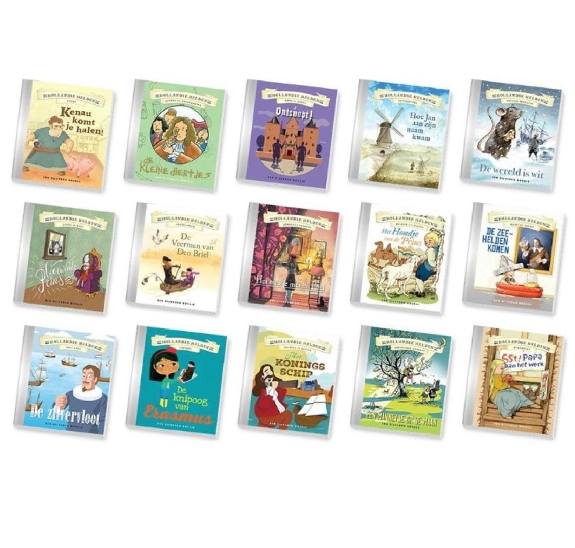 Dagaanbieding - Hollandse Helden zilveren kinderboekjes set (15-delig) dagelijkse koopjes
