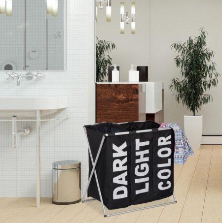 iBella Living 3 vaks wasmand zwart badkamer